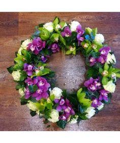 Coroana rotunda cu orhidee si trandafiri Funeral Bouquet, Floral Wreath, Wreaths, Home Decor, Floral Crown, Decoration Home, Door Wreaths, Room Decor, Deco Mesh Wreaths