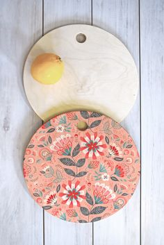 Pimlada Phuapradit Folk Floral Pink Cutting Board Round | DENY Designs Home Accessories