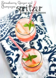 Strawberry Ginger and Champagne Spritzers - CookingBride.com #Beverages #Drinks
