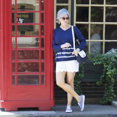 All from Talbots - the scalloped shorts, the linen tie die sweater, the polkadot shoes, even the navy straw handbag.  in the navy