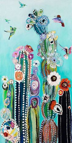 Eureka - Hummingbirds and Cacti Painting by Starla Michelle Halfmann.
