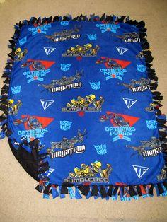 Transformers w/ Black back Fleece Tie Blanket