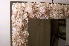 seashell mirrors   Exceptional Large Seashell Frame Mirror at 1stdibs