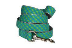 Aqua And Green Check Dog Leash