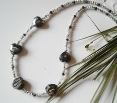 """20"""" BLACK & SILVER CRYSTAL BEADED NECKLACE WITH LARGE HEART SHAPED BEADS £10.00  http://folksy.com/items/3592674-20-BLACK-SILVER-CRYSTAL-BEADED-NECKLACE-WITH-LARGE-HEART-SHAPED-BEADS"""