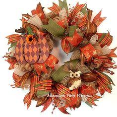 Deco Mesh Fall Wreath Autumn Mesh Wreath. by MountanViewWreaths
