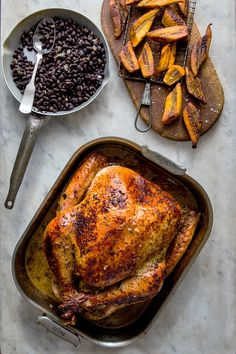 This recipe nods to what happened when Cuban culture drifted onto the Thanksgiving tables of South Florida, with a bird dressed in a marinade of sour oranges (a mixture of orange and lime juice works as well) mixed with a lot of garlic and oregano. Serve the bird with black beans and white rice on the side — and a Key lime pie for dessert. (Photo: Andrew Scrivani for The New York Times)