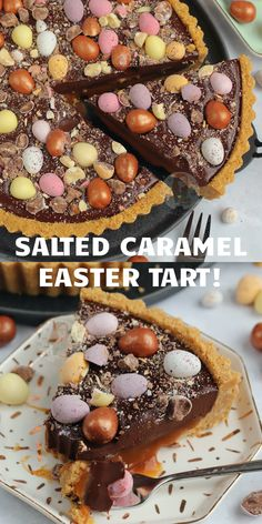 An Easy No-Bake Salted Caramel Easter Tart with a Biscuit Base, Salted Caramel Filling, Chocolate Ganache, and all the Easter Treats! Kid Desserts, Dessert Recipes, Easter Desserts, Easter Treats, Easter Food, Easter Appetizers, Recipes Dinner, Easter Cake Easy, Easter Dinner