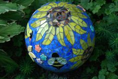 Image detail for -Gazing Ball Goldfinch in the Sunflowers Stained Glass Mosaic Garden ...