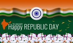 Happy Indian Republic Day Background greeting card with wave flag and flower border in bottom. Republic Day Photos, Free Vector Images, Vector Free, Indian Flag, Royalty Free Images, Religion, Greeting Cards, Stock Photos, Illustration
