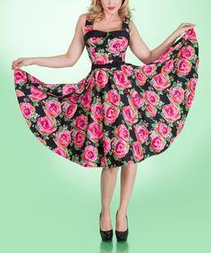 Look at this #zulilyfind! Black & Pink Night Bloom Dress - Plus by Tatyana #zulilyfinds