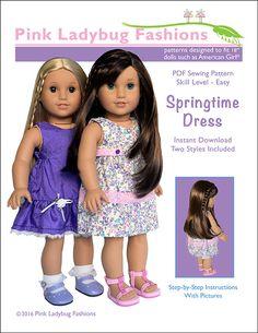 Pixie Faire Pink Ladybug Fashions Springtime Dress Doll Clothes Pattern for 18 inch American Girl Dolls - PDF de PixieFairePatterns en Etsy https://www.etsy.com/mx/listing/287404615/pixie-faire-pink-ladybug-fashions