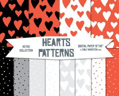 Seamless Hearts Patterns Wedding Hearts Paper by PaperScissorsPop
