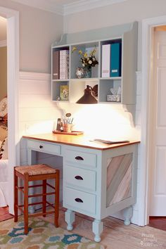 Kitchen Home Office Desk Area with Tutorial for making the Pretty Wall Hanging Shelf/Hutch