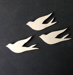We three together flying Wall art Birds Set of porcelain