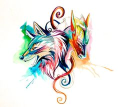 Dragon and Wolf Sketch Design by Lucky978.deviantart.com on @deviantART