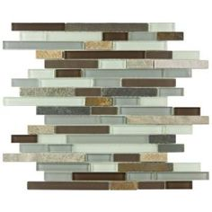 Merola Tile, Tessera Piano Tundra 11-3/4 in. x 12 in. x 8 mm Glass and Stone Mosaic Wall Tile, GITTPNTU at The Home Depot - Mobile