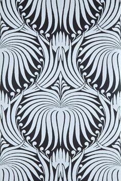 Farrow & Ball - Lotus BP Very art deco like. Would make a great zentangle-like pattern - MU Floral Print Wallpaper, Lotus Wallpaper, 2017 Wallpaper, Art Deco Wallpaper, Pattern Wallpaper, Floral Prints, Wallpaper Direct, Grey Wallpaper, Beautiful Wallpaper