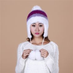 88.67$  Buy here - http://alixdt.worldwells.pw/go.php?t=32743963195 - Women's Winter beanies With pompon Knitted Ball Women Customized Headgear fur Hat For Women Casual Female Mink Fur Hats#H9026 88.67$