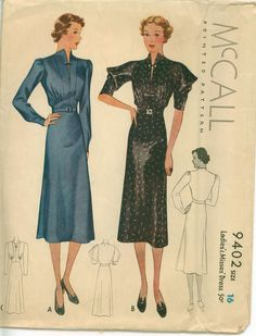 Vintage Sewing Pattern 1937 Sleek Frock with Beautiful Sleeves and Neckline Detail  McCALL 9402. $43.00, via Etsy.