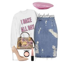 """""""Untitled #6618"""" by stylistbyair ❤ liked on Polyvore featuring Acne Studios, Gucci, Casadei and MAC Cosmetics"""