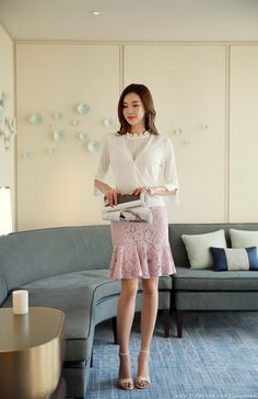 Korean Women`s Fashion Shopping Mall, Styleonme. Office Fashion, Korean Women, Office Outfits, Knitwear, Midi Skirt, Tulle, Formal, Trending Outfits, Lace