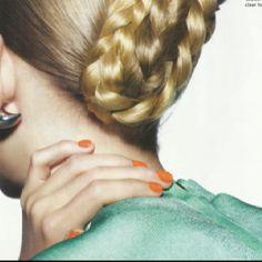 coral, aqua & blonde.