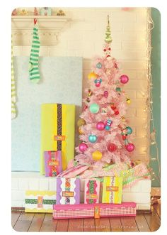 Tree for little miss: pink with aqua, yellow, pink, red, green, and blue ornaments. #Christmas #thanksgiving #Holiday #quote