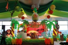 adult time flies themed birthday parties | Safari Adventure First Birthday Party