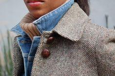 Layers: Chunky knit + Denim Vest + Tweed Coat