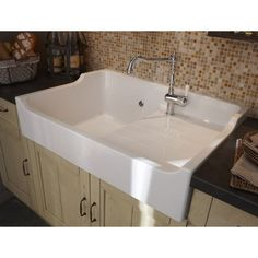 Sink to install white ceramic galley stamp, 1 tray with drainer,  #Buanderieblanche #Ceramic #drainer #galley #install #Sink #stamp #tray #White