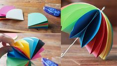 Origami Umbrella Folding Instructions by estela Diy Party Crafts, Diy And Crafts, Arts And Crafts, Origami Umbrella, Papier Diy, Paper Umbrellas, Origami Paper Art, Up Book, Diy Presents