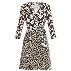 Diane Von Furstenberg Irina dress ($245) ❤ liked on Polyvore featuring dresses, black white, daisy print dress, black and white flower dress, short mini skirts, white and black dress and black and white mini skirt