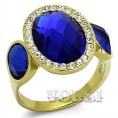 $9.15 - Stainless Steel IP Gold Synthetic Glass Sapphire Ladys Ring - Jewelry Wholesale - Wholesalerz.com