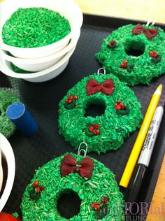 rice wreath  (great craft to do with kiddos around Christmas)