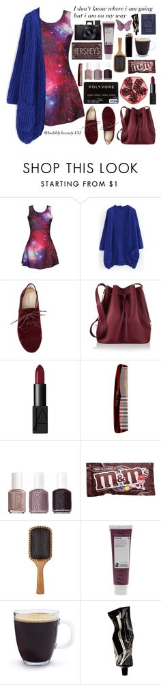 """""""On My Way"""" by bubblybeauty135 ❤ liked on Polyvore featuring Sole Society, Sophie Hulme, NARS Cosmetics, Mason Pearson, Essie, Candie's, Aveda, Hershey's, Korres and Bodum"""