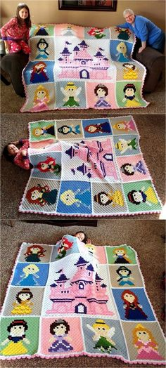 Crochet Afghans Patterns Disney Princess Crochet Blanket Ideas - You will love these Disney Princess Crochet Blanket Patterns and we have all your favorite characters. Check them all out now and Pin your favorites. C2c Crochet Blanket, Crochet For Beginners Blanket, Crocheted Blankets, Crochet Princess Blanket, Crochet Beanie, Crochet Afghans, Crotchet, Crochet Girls, Crochet For Kids