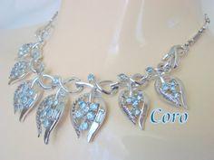 50s Coro Designer Signed Sky Blue Rhinestone Necklace / Rhodium Plate / Bridal Wedding /  Vintage Mid Century Jewelry / Jewellery
