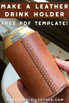 Want to make a leather drink or beer can holder? Check out this FREE PDF template and build along video. Want to make a leather drink or beer can holder? Check out this FREE PDF template and build along video. Tandy Leather, Leather Art, Sewing Leather, Leather Pattern, Custom Leather, Leather Tooling, Leather Design, Diy Leather Projects, Leather Diy Crafts