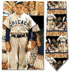 Men's 100% Silk Norman Rockwell Baseball Dugout Chicago Cubs Necktie Tie