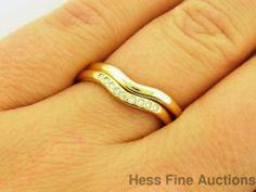 Ladies 18k Gold Tiffany and Co Elsa Peretti Wedding Band Ring Set w Diamonds