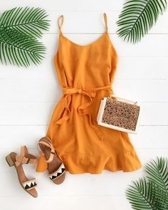 Summer Fashion Tips .Summer Fashion Tips Trendy Outfits, Summer Outfits, Cute Outfits, Fashion Outfits, Summer Dresses, Orange Dress Summer, Summer Romper, Night Outfits, Yellow Dress
