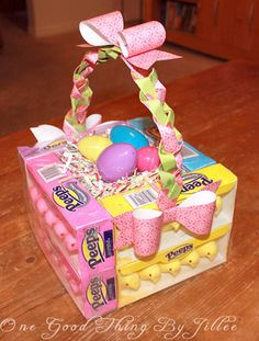 'Edible' Easter baskets. A cute idea to make Easter gifts for kids.