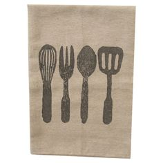 Add an eye-catching touch to your kitchen island or pantry with this cotton dishtowel, showcasing a cooking utensil motif in grey.   ...