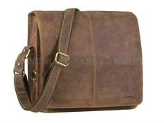 Greenburry VINTAGE - Leder Umhängetasche Messenger Aktentasche Postbag XL - antikbraun