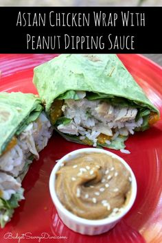 Asian Chicken Wrap with Peanut Dipping Sauce Recipe. Looks yummy!