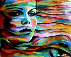 Sheltered by the wind is a colorful expressionist painting of a woman's face by Helena Wierzbicki. Enjoy its beauty and color reproduced as a fine canvas print. Influenced by the Expressionist Movement Painting Frames, Painting Prints, Fine Art Prints, Canvas Prints, Art Paintings, Framed Canvas, Canvas Art, Indian Paintings, Abstract Paintings