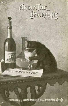 I know this is what my cats drink ;) Black and White ad/poster for absinthe Crazy Cat Lady, Crazy Cats, Maurice Careme, Etiquette Vintage, Black Cat Art, Black Cats, Image Chat, Green Fairy, Photo Chat