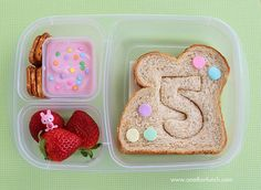 Use a cookie cutter to cut shapes, letters, and numbers into your kids' sandwiches. Such a cute idea -- the possibilities are endless.
