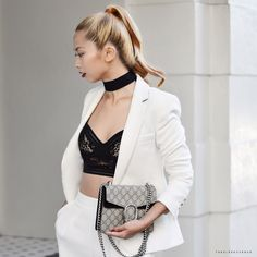 The Sleek Avenue | White suit | Black lace bralet | Red lips | Gucci Dionysus mini bag | Street style | Look book
